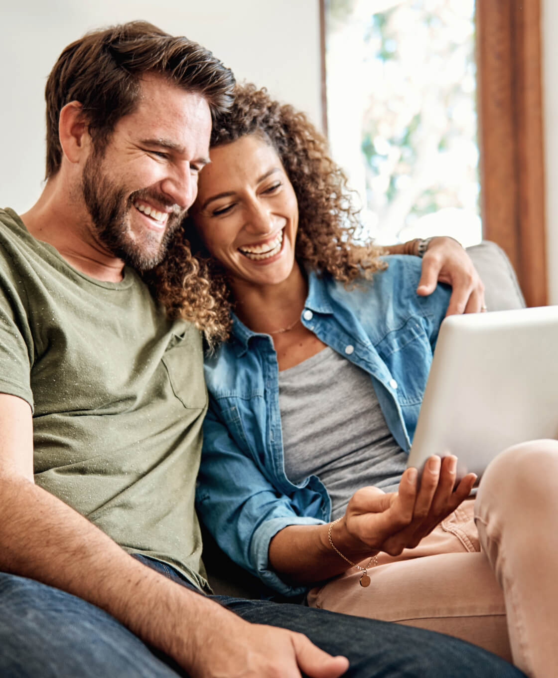 Couple in Home on Computer