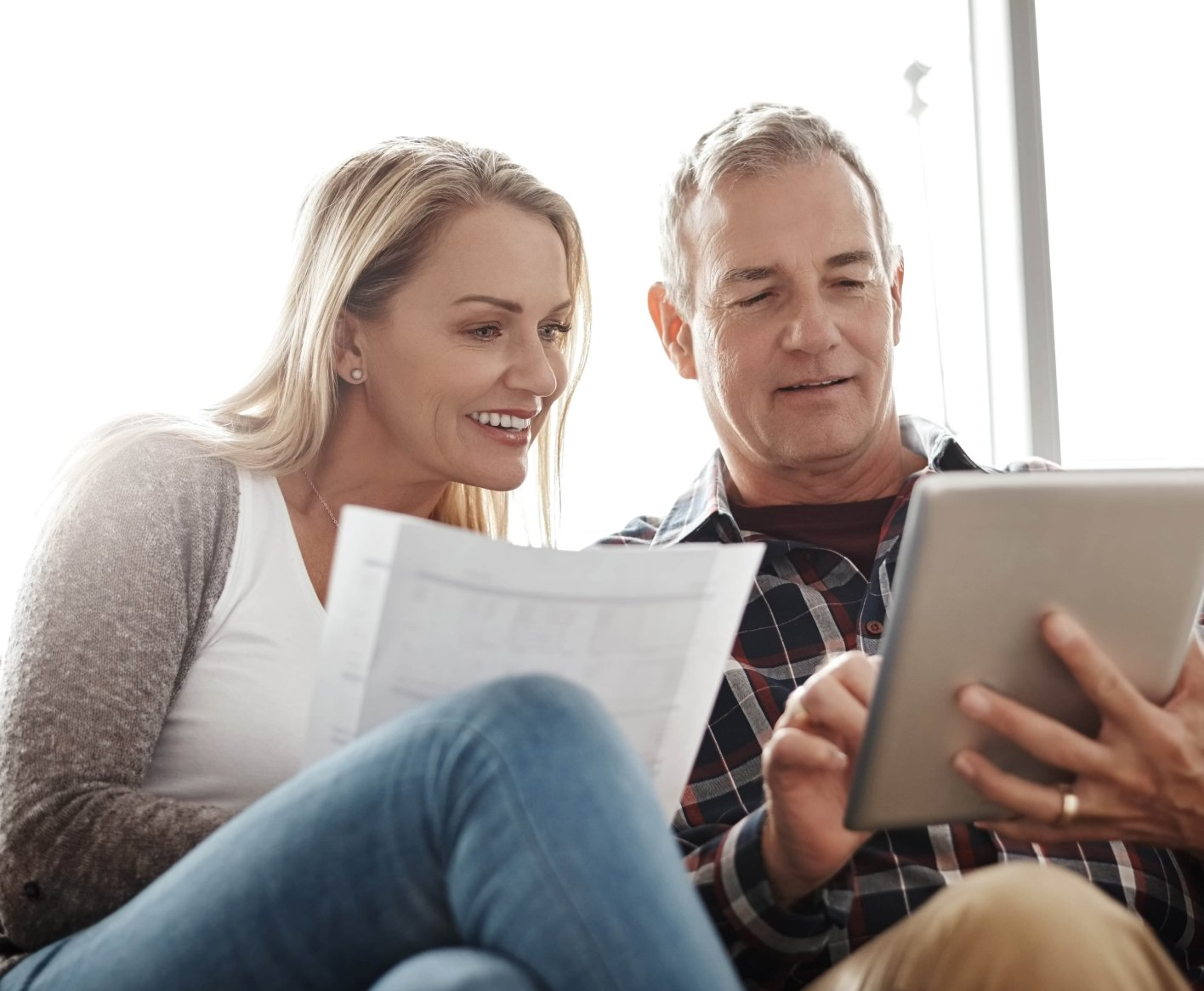Couple Looking at Credit Papers