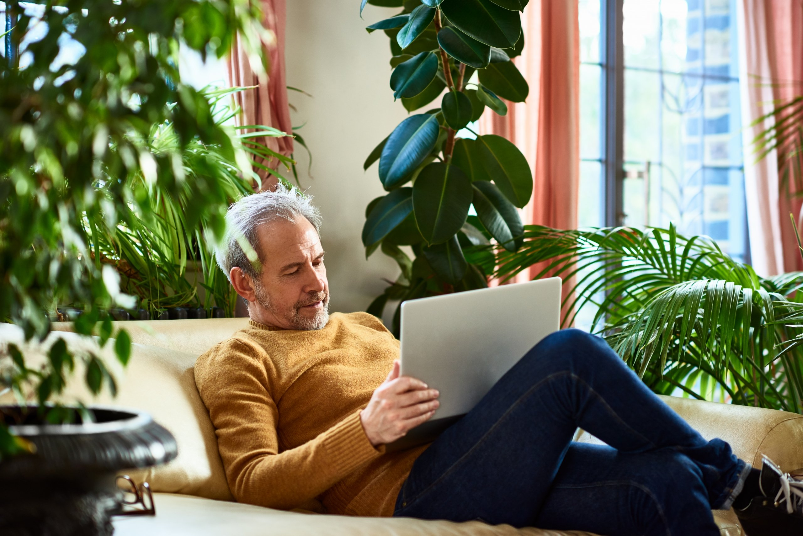 Man reading about financial security
