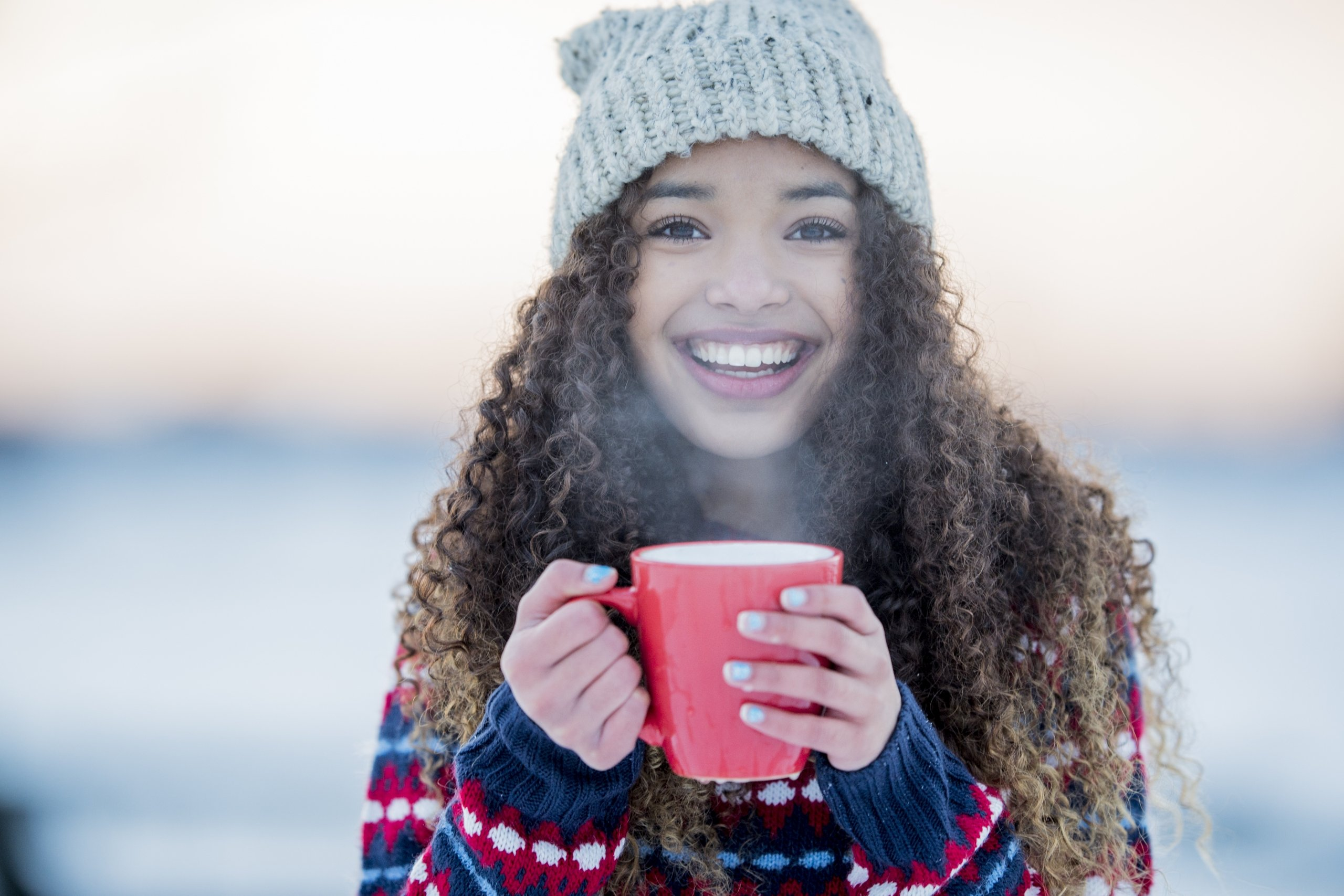 Woman smiling during the winter